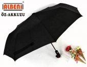 Erkek Şemsiye Yarı Otomatik 10 Telli Rüzgara Dayanıklı Baston Saplı Siyah Şemsiye