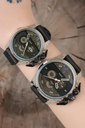 Siyah Deri Kordonlu Gümüş Gri Metal Kasa Sevgili Saatleri