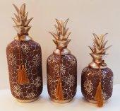Dekoratif Ananas Obje 3lü Seramik Vişne Çürüğü