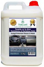 Terlans Parfümlü Torpido Ve İç Alan Plastik Parlatıcı (Parlatma Sütü) 5 Kg + Mikrofiber Bez Hediye