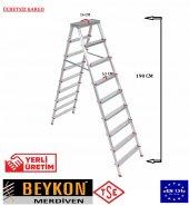 Beykon 9+9 Basamaklı Çift Çıkışlı Alüminyum Merdiven