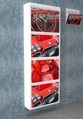 Evbox 4lü Görsel Baskılı Metal Ayakkabılık Gazetelik Fa 061