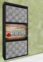 Evbox 3lü Welcome Baskılı Metal Ayakkabılık Fa 019