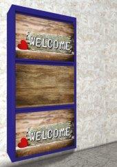 Evbox 3lü Welcome Baskılı Metal Ayakkabılık Fa 004