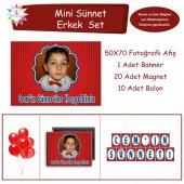 Sünnet Resimli İsimli Kırmızı Parti Süsleri Mini Set