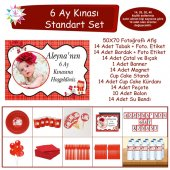 6 Ay Kınası Kırmızı Çizgili Çiçekli Standart Set