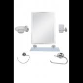 6 Parça Krom Banyo Ayna Seti Kare