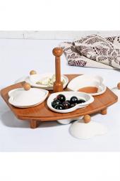 Kitchenworld Bambu Tepsili Porselen 9 Parça Lüx Kahvaltılık