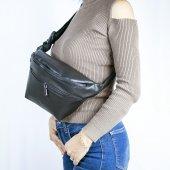 Bel Çantası Siyah Çift Fermuarlı Fashion Moon Marka-2