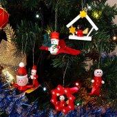 12 Adet Ahşap Yılbaşı Süs Noel Ağacı Süsleme Minyatür Ahşap Süs -2
