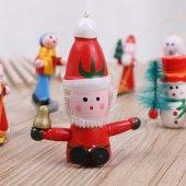 12 Adet Ahşap Yılbaşı Süs Noel Ağacı Süsleme Minyatür Ahşap Süs -3