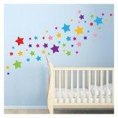 Renkli Yıldızlar 200x123 Cm Duvar Sticker