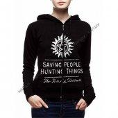 Supernatural Saving People Kapüşonlu Uzun Kol Sweatshirt