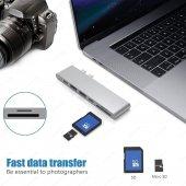 Ucouso Usb-cx2 Hdmı 4K Usb 3.0 Şarj Msd Typ-c Hub MacBook Aparat A1706 A1708 A1707 A1989 A1990 1302-10