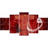 5 Parça Osmanlı Tuğra ve Kaftan Temalı Kanvas Tablo (Model-4)