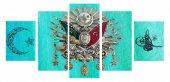5 Parça Okyanus Rengi Özel Tasarım Osmanlı Arma Kanvas Tablo