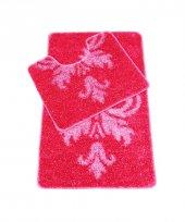 Myevilla Kaymaz Taban Banyo Paspası 2 Parça Simli Polyester Fuşya