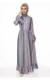 5018 Desenli Elbise Lacivert