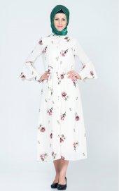 çiçekli Desen Elbise 4024 Ekru
