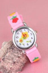 Pembe Renk Çiçekli Tasarımlı Silikon Kordonlu Çocuk Saati