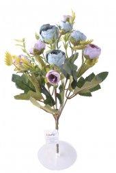 6 Dallı 28 cm Şakayık Gül Yapay Çiçek Mavi Pembe-CK011MP
