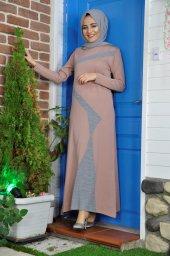 17202-Yeni Sezon Yol Desen Triko Elbise