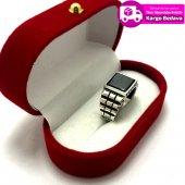 Oniks Taşlı Saat Kordon İşlemeli 925 Ayar Gümüş erkek Yüzük