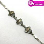 Zümrüt Taşlı Kalp Model 925 Ayar Gümüş Bayan Telkari Bileklik
