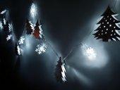 Dekoratif Minyatür Çam Ağacı Kar Tanesi Dizili Pilli İp Led