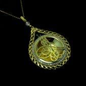 Örgü Model Tuğra İşleme Altın Kaplama Gümüş Bayan Kolye