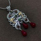 Yaprak Model Gümüş Oksitli Telkari Bayan Kolye