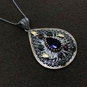 Lale İşlemeli Gümüş Oksitli Telkari Bayan Kolye
