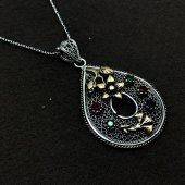 Çiçek İşlemeli Gümüş Oksitli Telkari Bayan Kolye