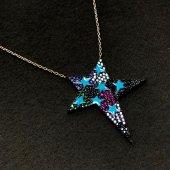Gök Yıldızı Model Zirkon Taşlı Gümüş Bayan Kolye