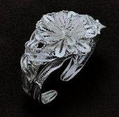 Çiçek ve Yaprak İşlemeli Gümüş Bayan Telkari Bilezik