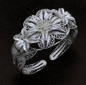 Çiçek İşlemeli Gümüş Bayan Telkari Bilezik