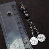 Midyat Telkari El İşçiliği Sitrin Taşlı Gümüş İkili Püskül