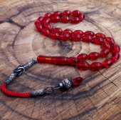 Gümüş Kazaziye Püskül Kırmızı Ateş Kehribar Tesbih