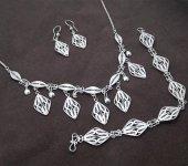Deltoit Model Midyat Telkari El İşçiliği Gümüş Bayan Üçlü Set