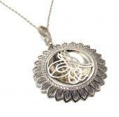 Güneş Model Tuğra İşleme Gümüş Bayan Kolye