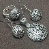Mardin Hasırı Özel El İşi Gümüş Bayan Üçlü Set