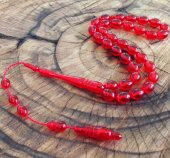 Özel Püsküllü Kırmızı Renkli Toz Kehribar Tesbih