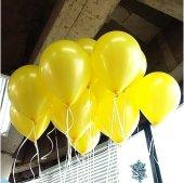 100 lü Adet Metalik Parlak Sedefli Lateks Sarı Renkli Balon-2