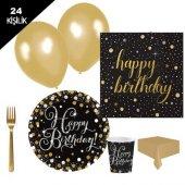 Yetişkin Doğum Günü,altın Parti Malzemesi Paketi Genç 24 Kişilik