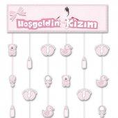 1 Adet Hoşgeldin Kızım Kapı Perdesi Pembe Kız Doğum Odası-3