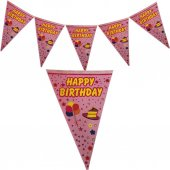 Happy Birthday Yatay Yazı Flama Bayrak Pembe Süsleme Malzemeleri-3