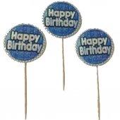 20 Adet Mavi Happy Birthday Yazılı Sunum Kürdanı-3