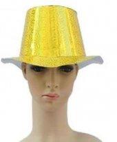 1 Adet Sarı Holografik Parlak Karton Şapka Parti Malzemesi-2