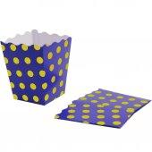 10 Adet Sarı Puantiyeli Mavi Mısır İkram Kutusu-3