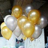 25 Adet Metalik (Gold Altın Sarısı-Gümüş Gri) Balon Helyumla Uçan-2